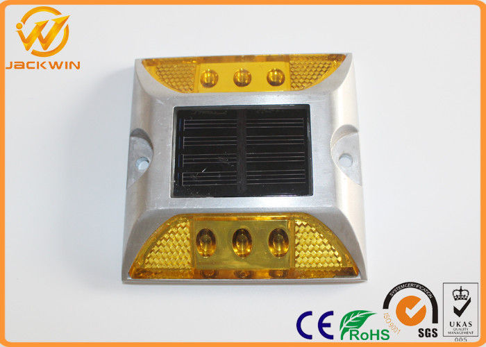 6 LED Aluminum Solar Lane Marker Reflective Road Studs Pavement Weight Capacity 30 tons