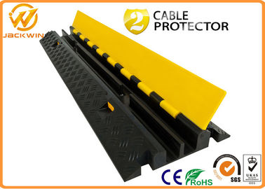 2 Channels Rubber Cable Protector Ramp Cord Cover with 20 Ton Weight Capacity 1000 * 250 * 50 mm