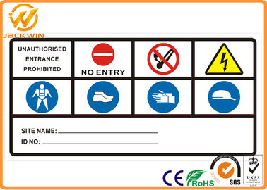 Aluminum Plate Reflective Traffic Warning Signs for Tower / Factory / Highway 800 * 400 * 2mm